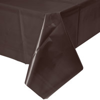 Creative Converting 723038B 54 inch x 108 inch Chocolate Brown Disposable Plastic Table Cover - 24/Case