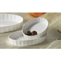 CAC QSV-6 White Fluted Oval Serving Dish 6 inch x 4 1/4 inch - 36/Case