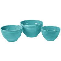 Homer Laughlin 967107 Fiesta Turquoise 3-Piece Prep Baking Bowl Set - 2 Sets / Case