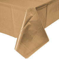 Creative Converting 01352B 54 inch x 108 inch Glittering Gold Plastic Table Cover - 24/Case