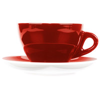 CAC E-11-R Venice 11 oz. Red Cup with 6 1/2 inch Saucer - 24/Case