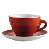 CAC E-11-R Venice 11 oz. Red Cup with 6 1/2 inch Saucer - 24 Sets / Case
