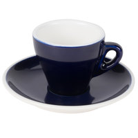 CAC E-3-CBU Venice 3.5 oz. Blue Espresso Cup with 4 7/8 inch Saucer 48 Sets / Case