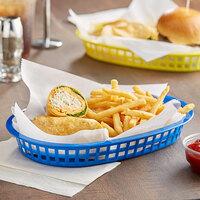 Tablecraft 1076BL 10 5/8 inch x 7 inch x 1 1/2 inch Blue Oval Chicago Platter Basket - 12/Pack