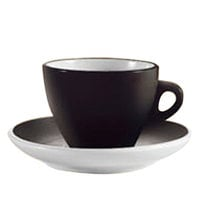 CAC E-75-BLK Venice 7.5 oz. Black Cup with 5 7/8 inch Saucer - 36/Case