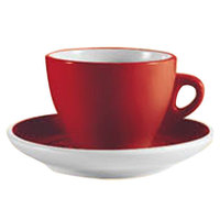 CAC E-75-R Venice 7.5 oz. Red Cup with 5 7/8 inch Saucer - 36/Case