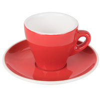 CAC E-3-R Venice 3.5 oz. Red Espresso Cup with 4 7/8 inch Saucer 48 Sets / Case