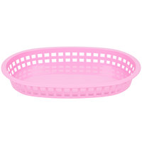 Tablecraft 1076P Pink Oval Chicago Platter Polypropylene Basket   - 12/Pack