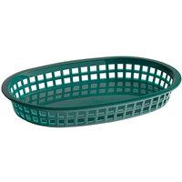 Tablecraft 1076FG 10 5/8 inch x 7 inch x 1 1/2 Forest Green Oval Chicago Platter Basket - 12/Pack