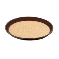 GET RCT-14-BR Round 14 inch Cork Non-Skid Serving Tray - 24/Case