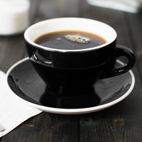 CAC E-11-BLK Venice 11 oz. Black Cup with 6 1/2 inch Saucer - 24/Case
