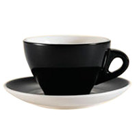CAC E-11-BLK Venice 11 oz. Black Cup with 6 1/2 inch Saucer - 24 Sets / Case
