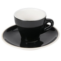 CAC E-3-BLK Venice 3.5 oz. Black Espresso Cup with 4 7/8 inch Saucer 48 Sets / Case