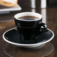 CAC E-3-BLK Venice 3.5 oz. Black Espresso Cup with 4 7/8 inch Saucer - 48/Case