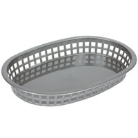Tablecraft 1076GM 10 5/8 inch x 7 inch x 1 1/2 Gray Oval Chicago Platter Basket - 12/Pack