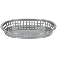 Tablecraft 1076GM Gray Oval Chicago Platter Polypropylene Basket - 12/Pack