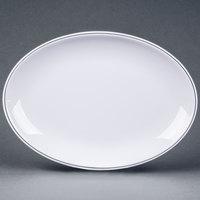Elite Global Solutions D2213L Viva 13 1/8 inch x 10 1/8 inch White Oval Plate with Black Trim