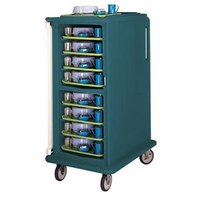 Cambro MDC1418T16192 Granite Green 2 Compartment Meal Delivery Cart 16 Tray