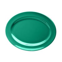 Elite Global Solutions D1014OV Rio Autumn Green 14 1/2 inch x 10 1/2 inch Oval Melamine Platter