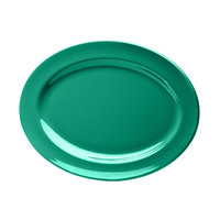 Elite Global Solutions D1014OV Rio Autumn Green 14 1/2 inch x 10 1/2 inch Oval Melamine Platter - 6/Case