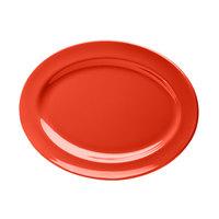 Elite Global Solutions D1014OV Spring Coral 14 1/2 inch x 10 1/2 inch Oval Melamine Platter