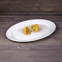 Elite Global Solutions M1914NW The Patriarch Display White 19 3/4 inch x 14 inch Oval Melamine Platter
