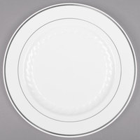 WNA Comet MP75WSLVR 7 1/2 inch White Masterpiece Plastic Plate with Silver Accent Bands - 150/Case