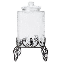 Core 5 Gallon Hammered Glass Beverage Dispenser with Metal Stand and Chalkboard Sign