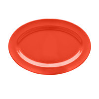 Elite Global Solutions D812OV Rio Spring Coral 12 3/4 inch x 8 3/4 inch Oval Melamine Platter - 6/Case