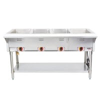 APW Wyott ST-4 Four Pan Exposed Stationary Steam Table with Coated Legs and Undershelf - 2000W - Open Well, 120V