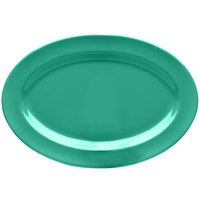 Elite Global Solutions D69OV Rio Autumn Green 9 1/4 inch x 6 1/4 inch Oval Melamine Platter