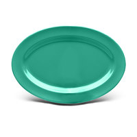 Elite Global Solutions D69OV Rio Autumn Green 9 1/4 inch x 6 1/4 inch Oval Melamine Platter