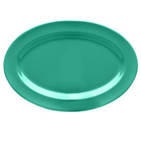 Elite Global Solutions D812OV Rio Autumn Green 12 3/4 inch x 8 3/4 inch Oval Melamine Platter - 6/Case