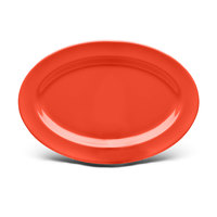Elite Global Solutions D69OV Rio Spring Coral 9 1/4 inch x 6 1/4 inch Oval Melamine Platter - 6/Case