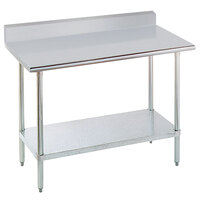 Advance Tabco KSLAG-244-X 24 inch x 48 inch 16 Gauge Stainless Steel Work Table with Undershelf and Backsplash
