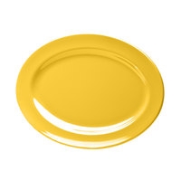Elite Global Solutions D1014OV Rio Yellow 14 1/2 inch x 10 1/2 inch Oval Melamine Platter - 6/Case