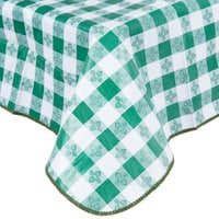 52 inch x 90 inch Green Checkered Gingham Vinyl Table Cover with Flannel Back