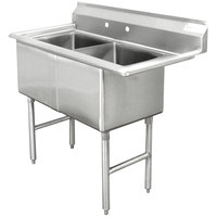 Advance Tabco FC-2-1620 Two Compartment Stainless Steel Commercial Sink without Drainboard - 37 inch