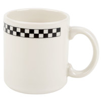 Homer Laughlin Black Checkers 9 oz. Creamy White / Off White China Shakespeare Mug - 36/Case