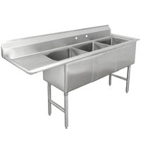 Advance Tabco FC-3-1620-18 Three Compartment Stainless Steel Commercial Sink with One Drainboard - 68 1/2 inch
