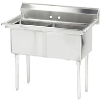Advance Tabco FE-2-2424 Two Compartment Stainless Steel Commercial Sink without Drainboard - 53 inch