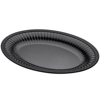 Elite Global Solutions M1713OVB Venetian Black 17 inch x 13 inch Oval Beaded Edge Platter