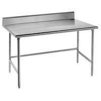 Advance Tabco TKMSLAG-244 48 inch x 24 inch 16 Gauge Professional Stainless Steel Work Table with 5 inch Backsplash