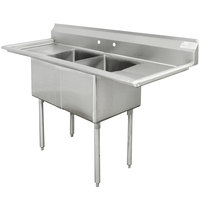 Advance Tabco FE-2-1620-18RL Two Compartment Stainless Steel Commercial Sink with Two Drainboards - 68 inch