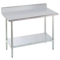 "Advance Tabco KSLAG-300-X 30"" x 30"" 16 Gauge Stainless Steel Work Table with 5"" Backsplash and Adjustable Undershelf"