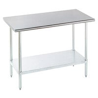 16 Gauge Advance Tabco ELAG-186 Stainless Steel Work Table with Galvanized Legs and Undershelf - 72 inch x 18 inch