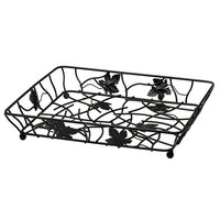 Elite Global Solutions WB12142 Black Rectangular Metal Leaf Wire Basket - 14 inch x 12 inch x 2 inch