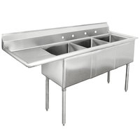 Advance Tabco FE-3-2424-24-X Three Compartment Stainless Steel Commercial Sink with One Drainboard - 98 1/2 inch