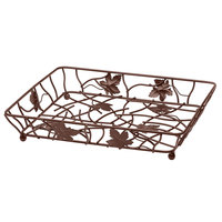 Elite Global Solutions WB12142 14 inch x 12 inch Antique Copper Rectangular Metal Leaf Wire Basket