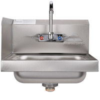 Advance Tabco 7-PS-66L Hand Sink with Splash Mounted Gooseneck Faucet and Left Side Splash Guard - 17 1/4 inch